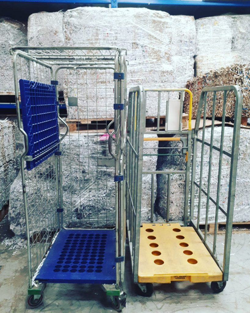 Our metal cages to put your bags of shredding into.